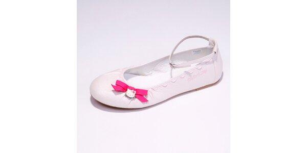 Dámské bílé baleríny s růžovou mašličkou Hello Kitty