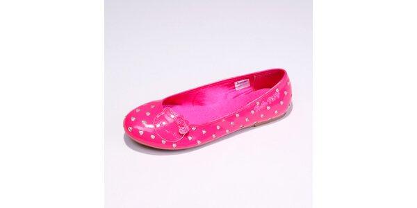 Dámské růžové balerínky se stříbrnými srdíčky Hello Kitty