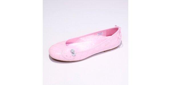 Dámské růžové lakované balerínky Hello Kitty