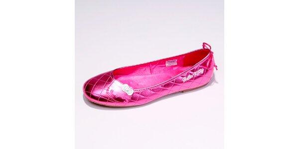 Dámské růžové metalické baleríny Hello Kitty
