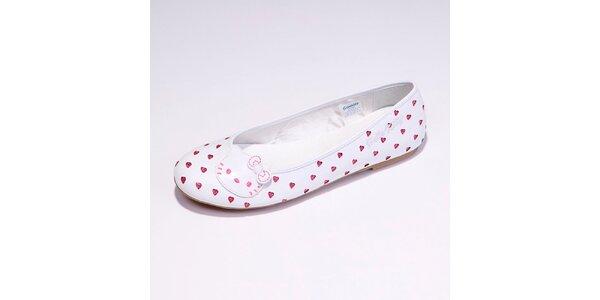 Dámské bílé balerínky se srdíčky Hello Kitty