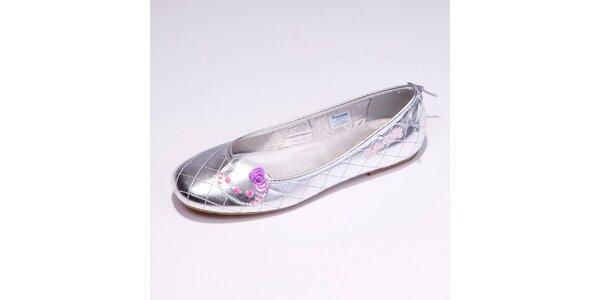 Dámské stříbrné balerínky Hello Kitty