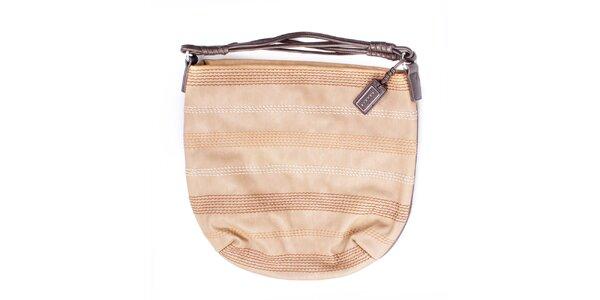 Dámská béžová kabelka s prošíváním a hnědými uchy Sisley