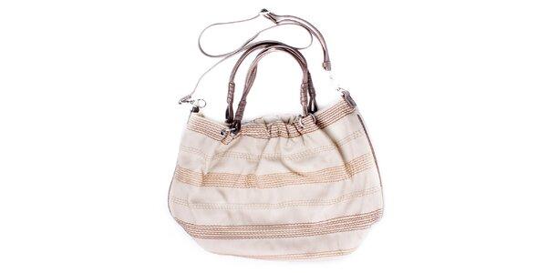 Dámská oválná smetanově béžová kabelka s prošíváním Sisley