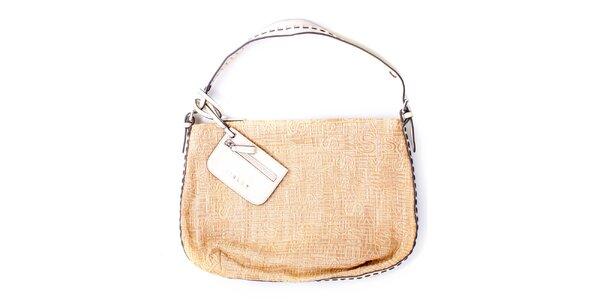 Dámská velká béžová kabelka s bílými uchy Sisley