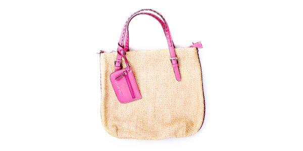 Dámská velká béžová kabelka s růžovými uchy Sisley