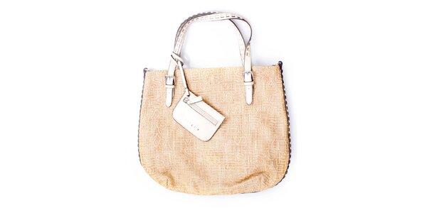 Dámská velká béžová kabelka s malou peněženkou Sisley