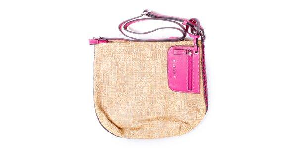 Dámská béžová kabelka s růžovými uchy Sisley