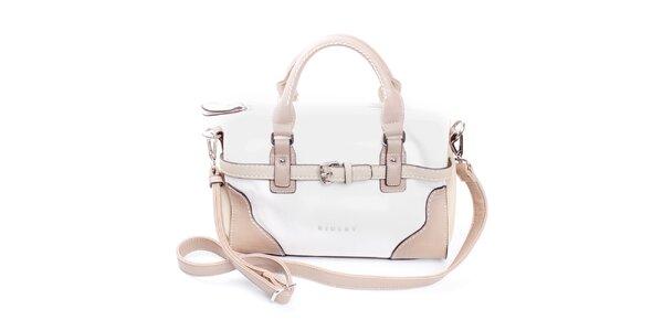 Dámská béžovo-bílá kabelka do ruky Sisley