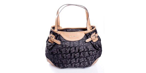 Dámská černá kabelka s monogramem a béžovými uchy Sisley