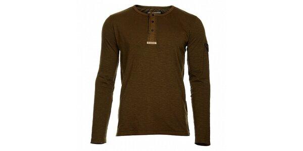 Pánské khaki tričko Bushman s dlouhým rukávem a knoflíčky