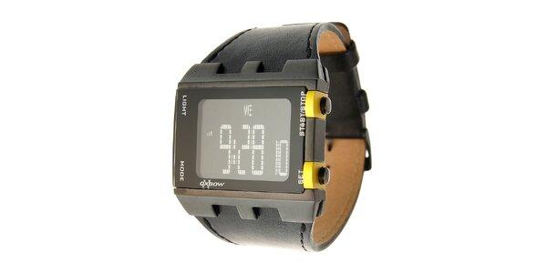 Pánské černé digitální hodinky Oxbow s černým koženým řemínkem