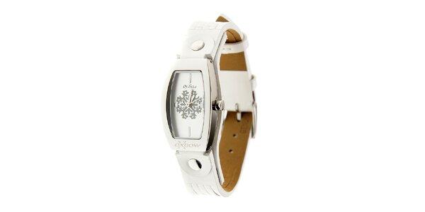 Dámské ocelové hodinky Oxbow s bílým koženým řemínkem