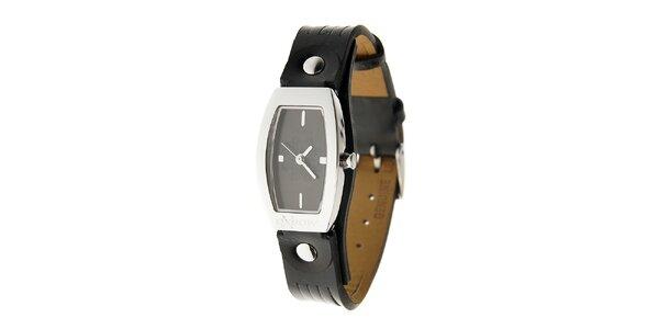Dámské ocelové hodinky Oxbow s černým koženým řemínkem