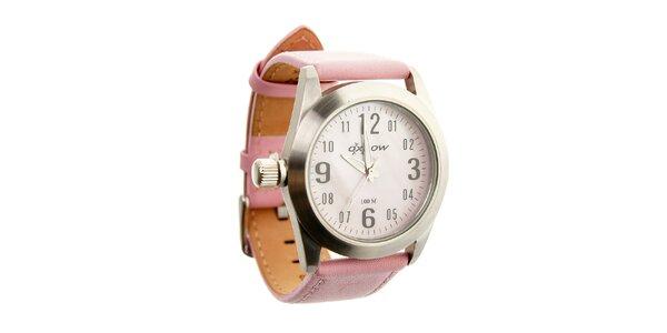 Dámské ocelové hodinky Oxbow s růžovým koženým řemínkem