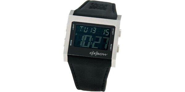 Pánské černé digitální hodinky se stříbrným lemováním Oxbow