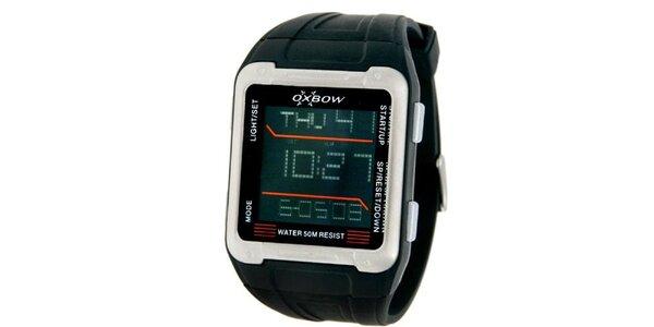 Pánské černé digitální hodinky s červenými detaily Oxbow