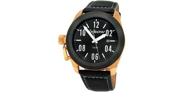 Pánské černé analogové hodinky se zlatými detaily Oxbow