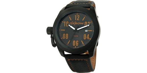 Pánské černé analogové hodinky s okrovými detaily Oxbow