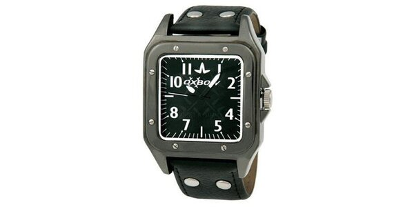 Pánské hranaté černé analogové hodinky Oxbow