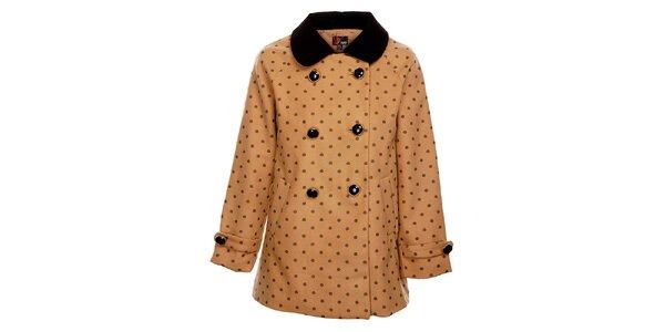 Dámský světle hnědý zimní kabát Yumi s černým potiskem