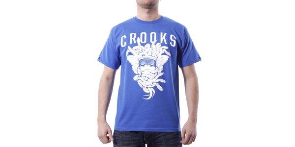 Pánské tyrkysově modré tričko Crooks & Castles s bílým potiskem