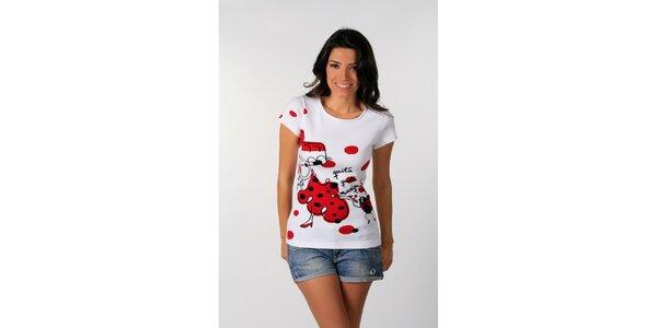 Dámské bílé tričko s červeným potiskem Avispada