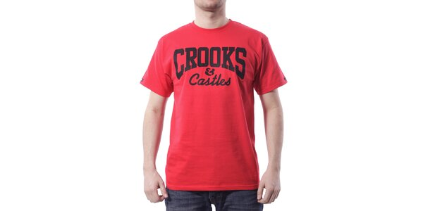Pánské zářivě červené tričko Crooks & Castles s černým potiskem