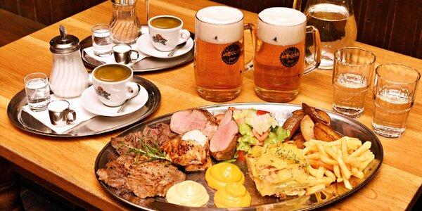Steak menu pro 2: maso 4 druhů, 2 přílohy i káva
