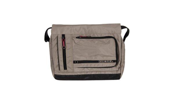 Šedo-béžová taška přes rameno Diesel s červenými detaily