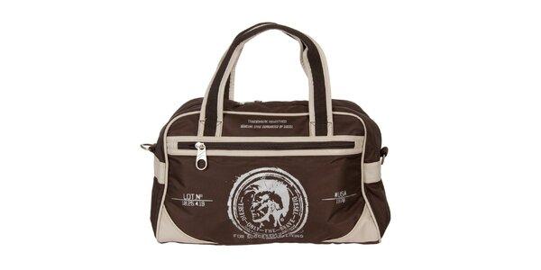 Hnědo-béžová cestovní taška Diesel