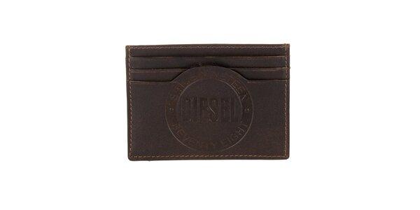 Hnědý kožený obal na karty s logem Diesel