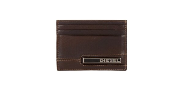 Hnědý kožený obal na karty Diesel