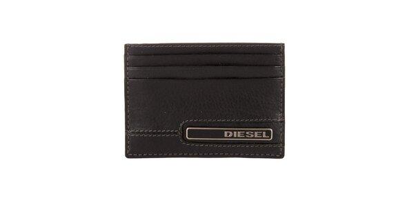 Černý kožený obal na karty Diesel