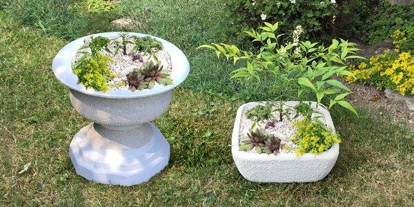 Ručně opracované venkovní betonové květináče