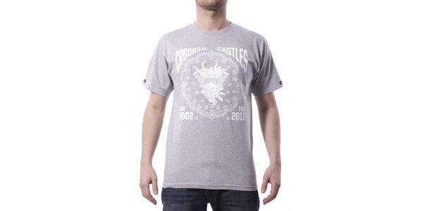 Pánské světle šedé melírované tričko Crooks & Castles s bílým potiskem