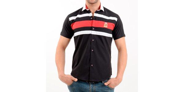 Pánská černo-červená košile s krátkým rukávem Wessi