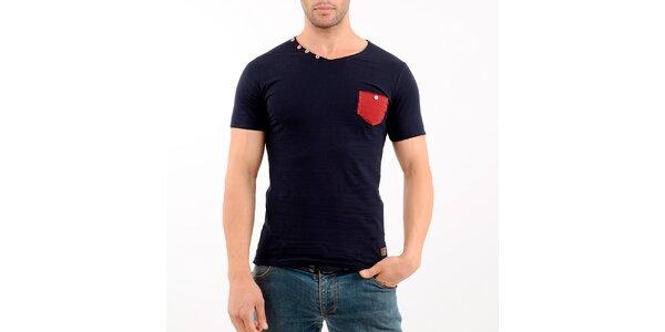 Pánské tmavě modré tričko s červenou kapsou Wessi