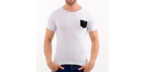 Pánské bílé tričko s černou kapsou Wessi