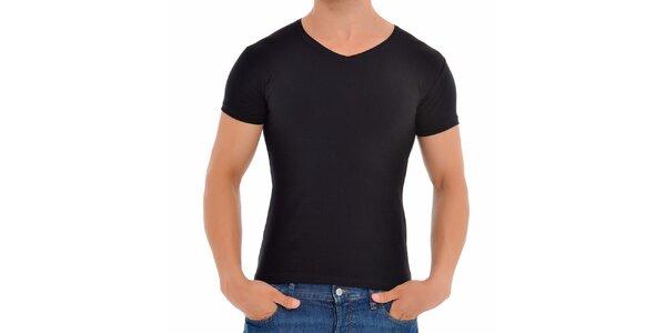 Pánské černé tričko s véčkovým výstřihem Wessi
