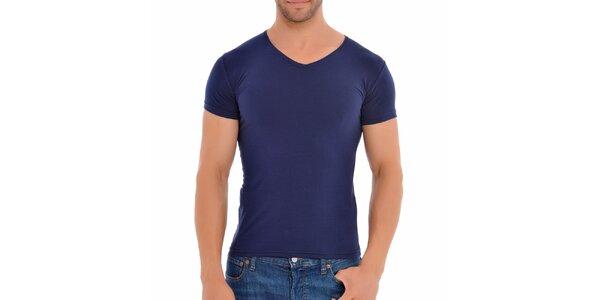 Pánské tmavě modré tričko s véčkovým výstřihem Wessi