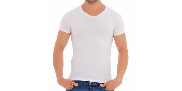 Pánské bílé tričko s véčkovým výstřihem Wessi