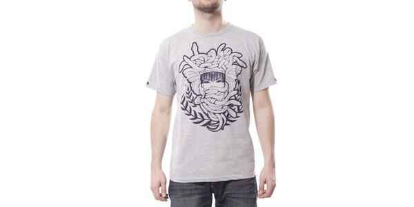 Pánské světle šedé melírované tričko Crooks & Castles s fialovým potiskem