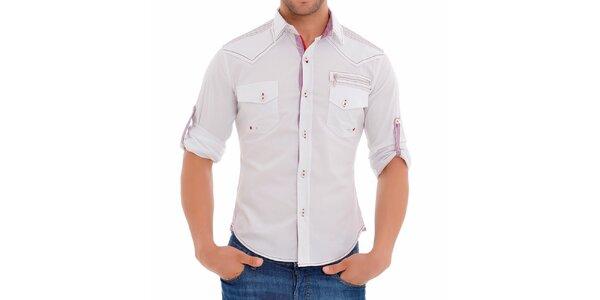 Pánská bílá košile s propracovanými detaily Wessi