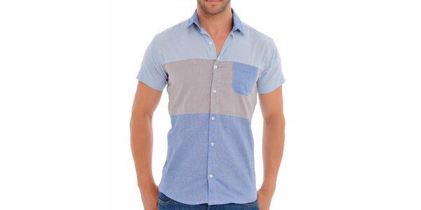 Pánská modro-béžová košile s krátkým rukávem Wessi