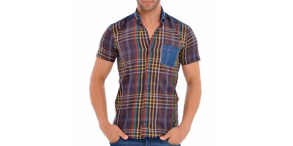 Pánská kávovo-modrá košile s proužky Wessi