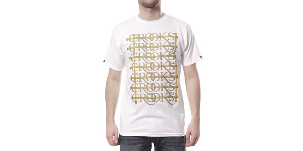 Pánské bílé tričko Crooks & Castles se zlatožlutým potiskem