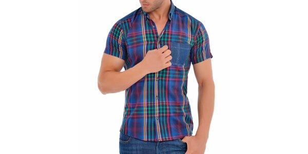 Pánská zeleno-modrá košile s červenými proužky Wessi