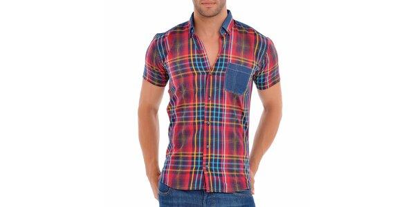 Pánská červeno-modrá košile s proužky Wessi