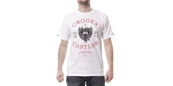 Pánské bílé tričko Crooks & Castles s barevným potiskem